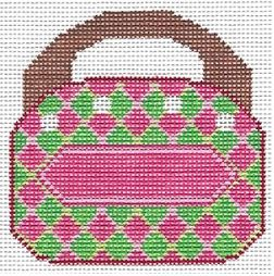 click here to view larger image of Bermuda Bag - Argyle  (hand painted canvases)