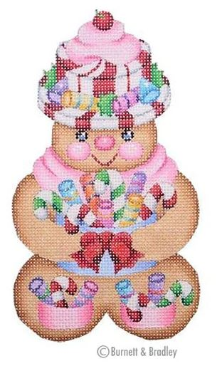 click here to view larger image of Gingerbread Girl Peppermint Candy Hat (hand painted canvases)