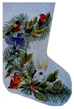click here to view larger image of Animal Christmas Stocking (hand painted canvases)