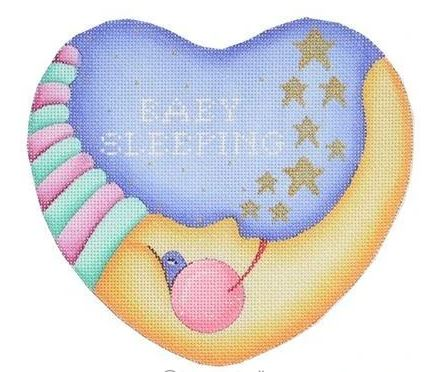 click here to view larger image of Baby Sleeping Moon Heart - Pink & Turquoise (hand painted canvases)