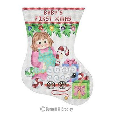 click here to view larger image of Babys First Christmas Mini Stocking - Doll (hand painted canvases)