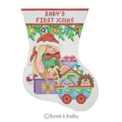 click here to view larger image of Babys First Christmas Mini Stocking - Bunny (hand painted canvases)