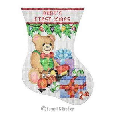 click here to view larger image of Babys First Christmas Mini Stocking - Bear (hand painted canvases)