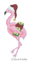 click here to view larger image of Christmas by the Sea - Flamingo with Santa Hat (hand painted canvases)
