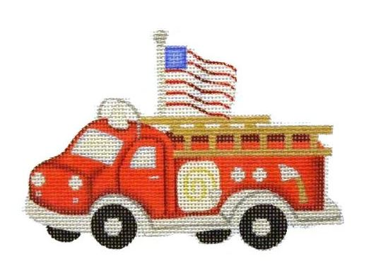 click here to view larger image of Red Fire Engine with Flag Ornament (hand painted canvases)