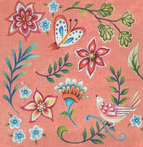 click here to view larger image of Folk Flower Pattern - Peach (hand painted canvases)