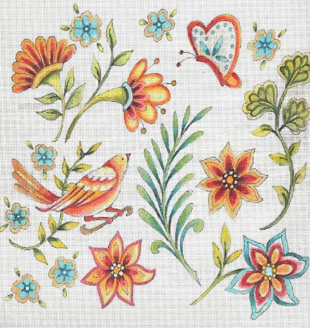 click here to view larger image of Folk Flower Pattern - White (hand painted canvases)