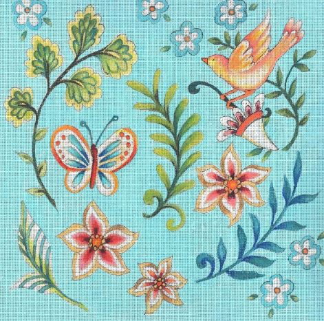 click here to view larger image of Folk Flower Pattern - Light Blue (hand painted canvases)