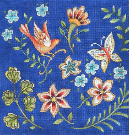 click here to view larger image of Folk Flower Pattern - Blue (hand painted canvases)