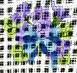 click here to view larger image of Violets w/Ribbon (hand painted canvases)