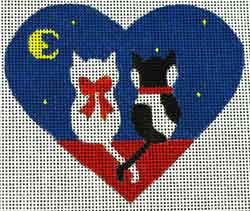 click here to view larger image of Two Kittens - Heart Shape  (hand painted canvases)