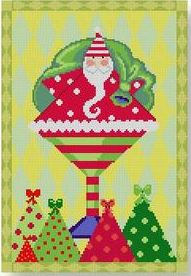 click here to view larger image of Santa in Martini Glass w/Border (hand painted canvases)
