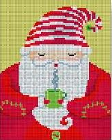 click here to view larger image of Santa w/Mug (hand painted canvases)
