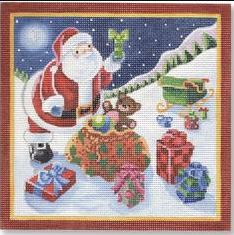 click here to view larger image of Santa w/Presents (hand painted canvases)