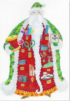 click here to view larger image of Stitcher Santa (hand painted canvases)