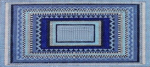 click here to view larger image of Eyeglass/Phone Case - Geometric Blues (hand painted canvases)