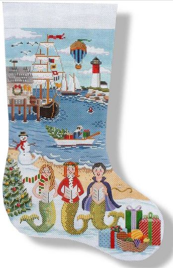 click here to view larger image of Mermaid Chorus Stocking (hand painted canvases)