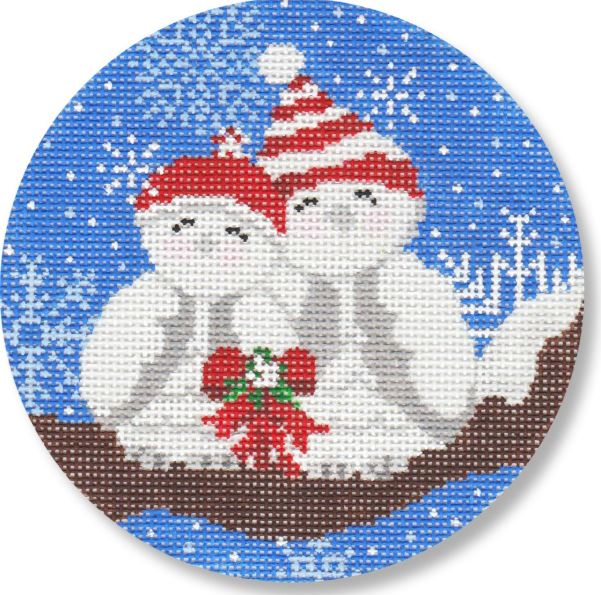 click here to view larger image of Snow Lovebirds  (hand painted canvases)