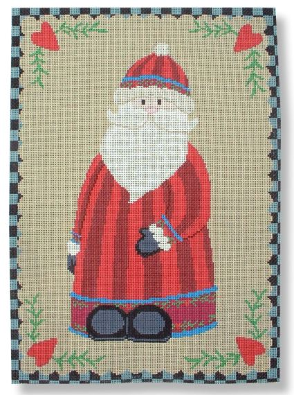 click here to view larger image of Santa w/Heart Border (hand painted canvases)