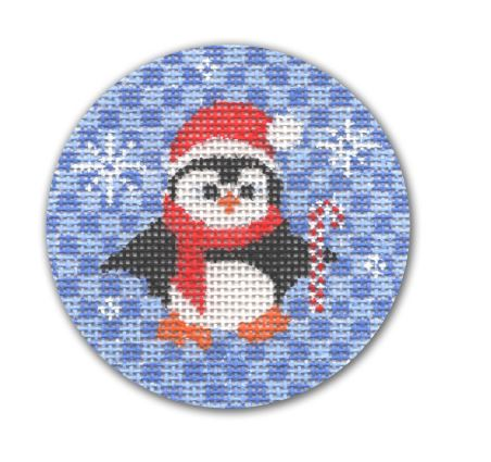 click here to view larger image of Penguin w/Candy Cane and Snowflakes (hand painted canvases)
