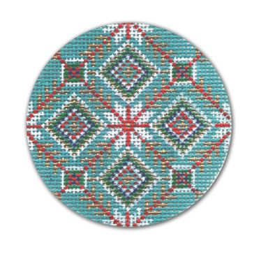 click here to view larger image of Turquoise Red Gold White Ball (hand painted canvases)