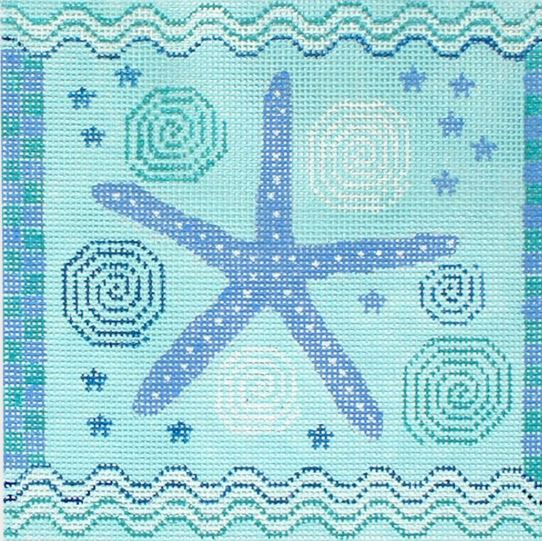 click here to view larger image of Starfish w/Waves (hand painted canvases)