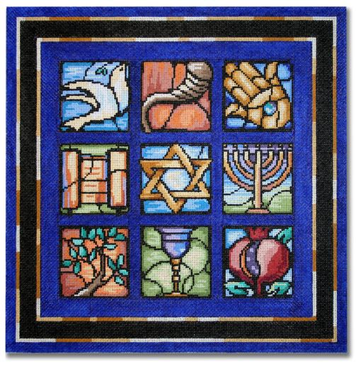 click here to view larger image of Judaic Stained Glass (hand painted canvases)