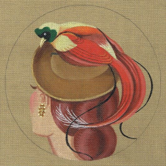 click here to view larger image of Bird of Paradise Hat - Ravishing (hand painted canvases)