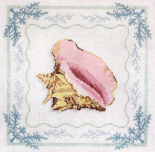 click here to view larger image of Conch with Seaweed Border (hand painted canvases)