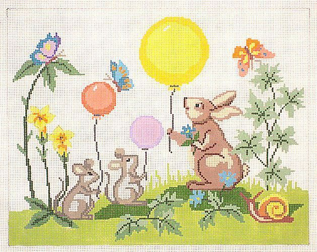 click here to view larger image of Bunny/Mice Birth Sampler (hand painted canvases)