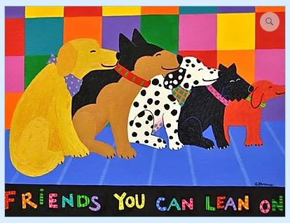 click here to view larger image of Friends You Can Lean On (hand painted canvases)