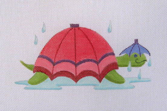 click here to view larger image of April - Umbrella Turtle (hand painted canvases)