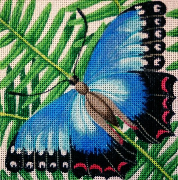 click here to view larger image of Blue on Fern (hand painted canvases)