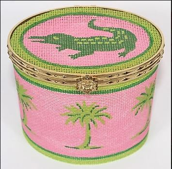 click here to view larger image of Limoges Box - Lg. Oval Green Gator and Palms on Hot Pink (hand painted canvases 2)