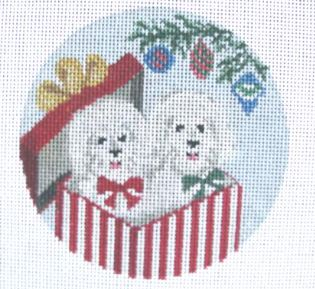 click here to view larger image of Bichon Surprise (hand painted canvases)