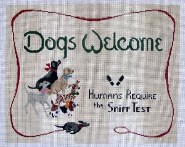 click here to view larger image of Dogs Welcome (hand painted canvases)