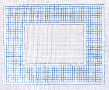 click here to view larger image of Blue and White Check Frame (hand painted canvases)