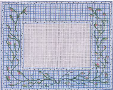 click here to view larger image of Blue and White Check w/Vine Frame (hand painted canvases)