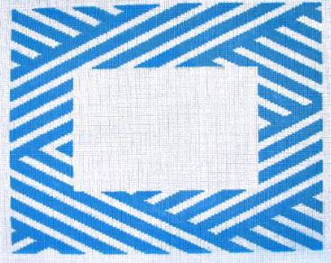 click here to view larger image of Blue and White Stripe Frame (hand painted canvases)