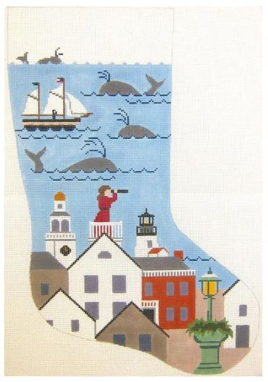 click here to view larger image of Nantucket Lady Christmas Stocking (hand painted canvases)
