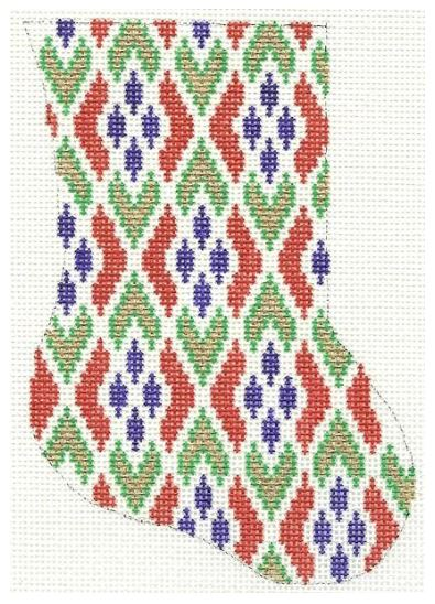 click here to view larger image of Bargello Minisock (hand painted canvases)