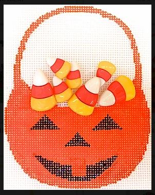 click here to view larger image of Candy Corn Basket (hand painted canvases)
