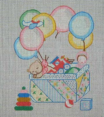click here to view larger image of Balloons Birth Announcement (hand painted canvases)