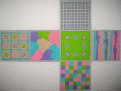 click here to view larger image of 3D Cubes - Patchwork (hand painted canvases)