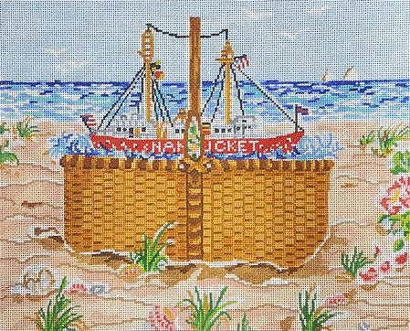 click here to view larger image of Nantucket Sailing Basket (hand painted canvases)