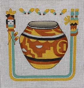 click here to view larger image of Yellow and Terra Cotta Pot w/Southwest Border (hand painted canvases)