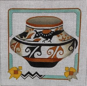 click here to view larger image of Quail Pot w/Southwest Border (hand painted canvases)