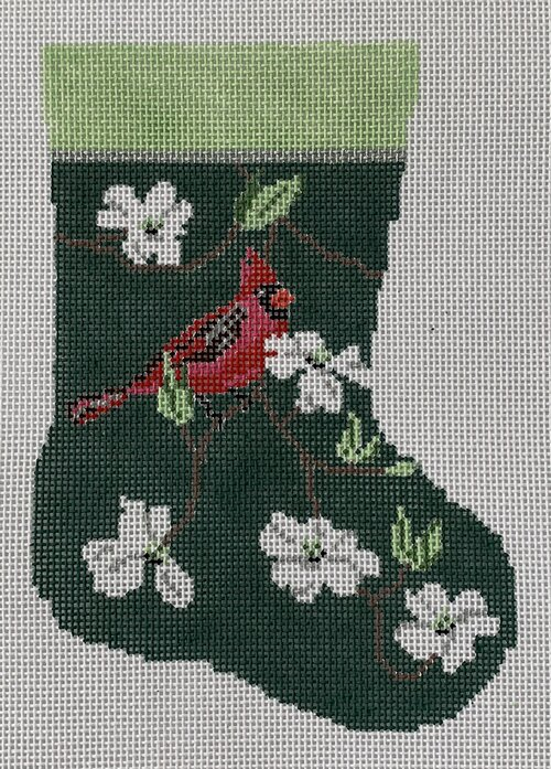 click here to view larger image of Cardinal and White Dogwood Mini Stocking (hand painted canvases)