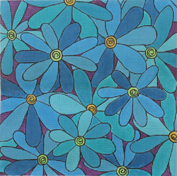 click here to view larger image of Gerbers Blue (hand painted canvases)