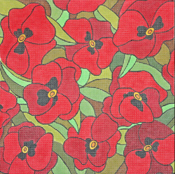 click here to view larger image of Scarlet Pansies (hand painted canvases)